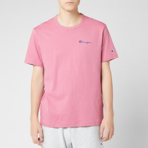 Champion Men's Small Script Crew Neck T-Shirt - Pink