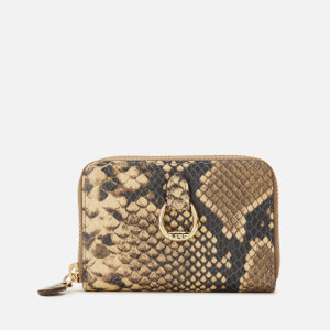Lauren Ralph Lauren Women's Small Snake Print Zip Wallet - Oatmeal Multi