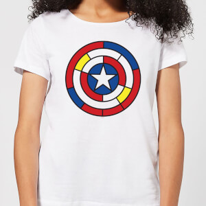 Marvel Captain America Stained Glass Shield Women's T-Shirt - White