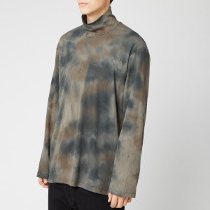 Our Legacy Men's Ribbed Polo Neck Top - Olive Tye Dye