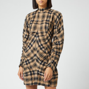 Ganni Women's Seersucker Check Dress - Tiger's Eye