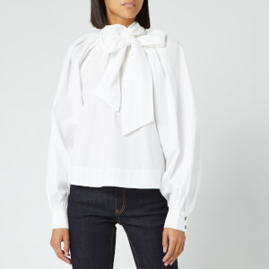 Ganni Women's Cotton Poplin Bow Shirt - Bright White