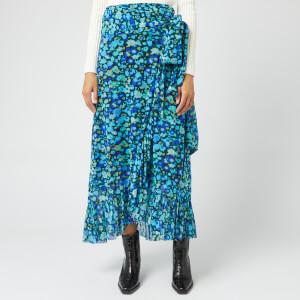 Ganni Women's Printed Mesh Skirt - Azure Blue