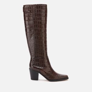Ganni Women's Western Leather Knee High Boots - Chicory Coffee
