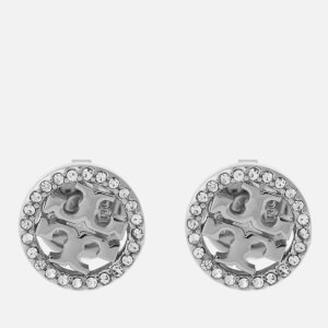 Tory Burch Women's Pave Logo Circle-Stud Earrings - Tory Silver/Crystal