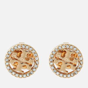 Tory Burch Women's Crystal Logo Circle-Stud Earrings - Gold/Crystal