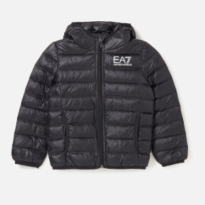 Emporio Armani EA7 Boys' Train Core ID Down Light Hoodie Jacket - Black