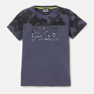 Emporio Armani EA7 Boys' Train Graphic Short Sleeve T-Shirt - Ombre Blue