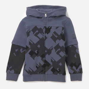 Emporio Armani EA7 Boys' Train Graphic Full Zip Hoodie - Ombre Blue