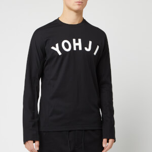 Y-3 Men's Yohji Letters Long Sleeve T-Shirt - Black/Off White