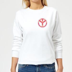 Floral Pattern Peace Symbol Women's Sweatshirt - White