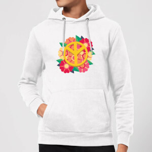 Peace Symbol Floral Hoodie - White