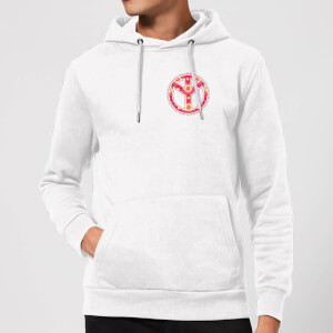 Floral Pattern Peace Symbol Hoodie - White