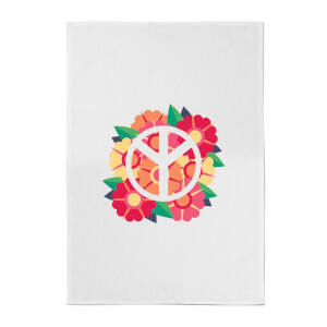Peace Symbol Floral Cotton Tea Towel
