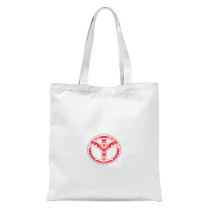 Floral Pattern Peace Symbol Tote Bag - White