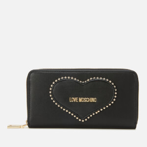 Love Moschino Women's Stud Heart Logo Wallet - Black