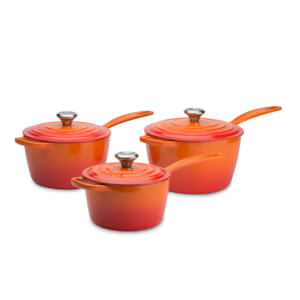 Le Creuset Signature Cast Iron 3 Piece Saucepan Set - Volcanic