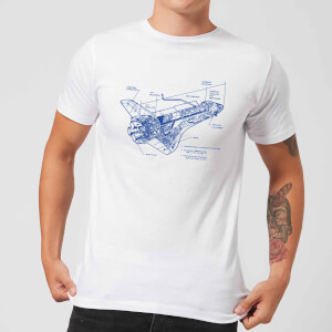 Shuttle Side View Schematic Men's T-Shirt - White
