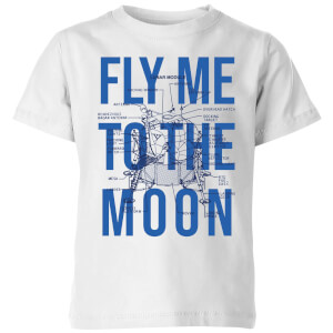 Fly Me To The Moon Blue Print Kids' T-Shirt - White