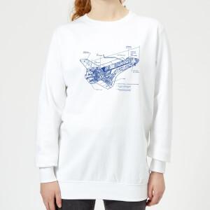Shuttle Side View Schematic Women's Sweatshirt - White