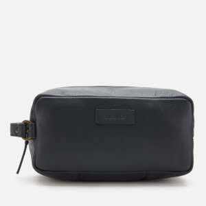 Barbour Men's Compact Leather Wash Bag - Navy