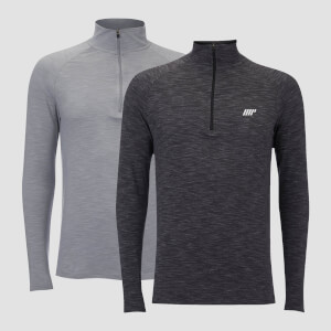 Performance 2 Pack 1/4 Zip Top - Charcoal Marl/Grey Marl