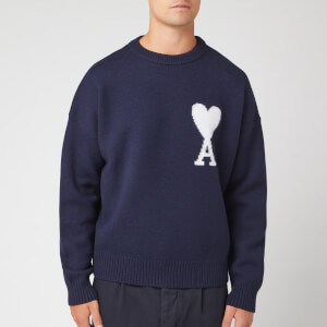 AMI Men's Oversized Heart Knit Jumper - Marine