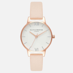 Olivia Burton Women's White Midi Dial Watch - Nude Peach, Rose Gold and Silver
