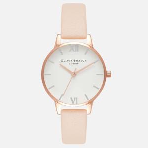 Olivia Burton Women's White Midi Dial Watch - Nude Peach, Rose Gold and Silver