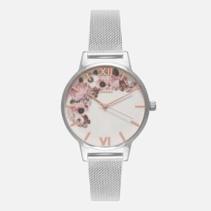 Olivia Burton Women's Signature Florals Watch - Silver Mesh