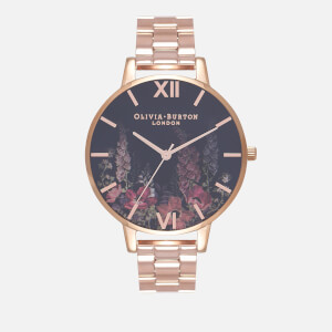 Olivia Burton Women's Dark Bouquet Watch - Rose Gold Bracelet