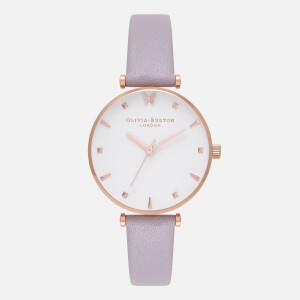 Olivia Burton Women's Social Butterfly Watch - Grey Lilac and Rose Gold