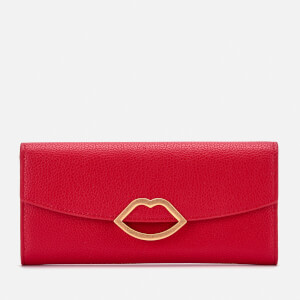 Lulu Guinness Women's Cut Out Lip Trisha Wallet - Classic Red