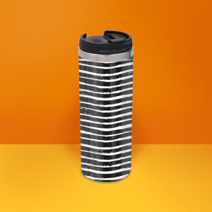 Black White Horizontal Stripe Stainless Steel Travel Mug - Metallic Finish