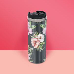 Pink Floral Stainless Steel Travel Mug