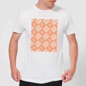 Boombox Pattern Orange Men's T-Shirt - White