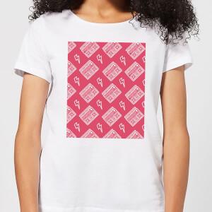 Boombox Pattern Pink Women's T-Shirt - White