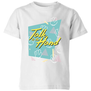 Talk To The Hand Square Patterned Background Kids' T-Shirt - White