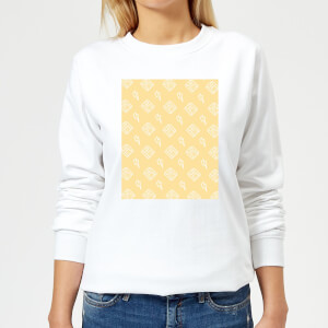 Floppy Disc Pattern Yellow Women's Sweatshirt - White