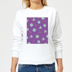 90's Circle Square Triangle Pattern Women's Sweatshirt - White