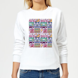 90's Product Tiled Pattern Women's Sweatshirt - White