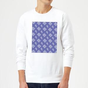 Floppy Disc Pattern Purple Sweatshirt - White