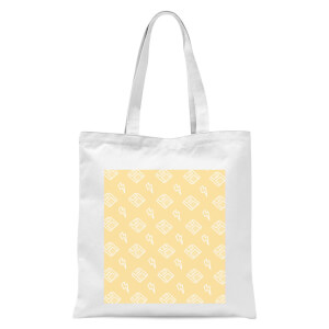 Floppy Disc Pattern Yellow Tote Bag - White