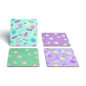 90's Funky Pattern Coaster Square Coaster Set