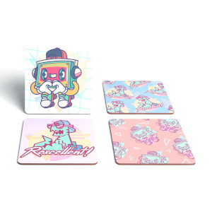 90's Graphics Coaster Square Coaster Set