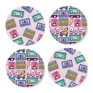 90's Product Pink Coaster Circle Coaster Set
