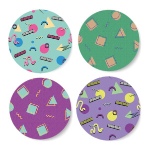 90's Funky Pattern Coaster Circle Coaster Set