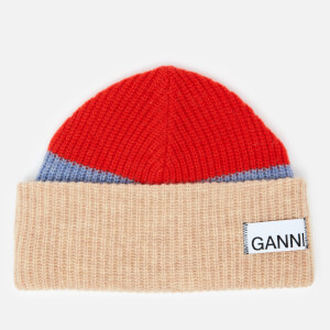 Ganni Women's Knitted Colour Block Beanie - Fiery Red