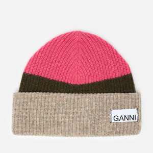 Ganni Women's Knitted Colour Block Beanie - Hot Pink