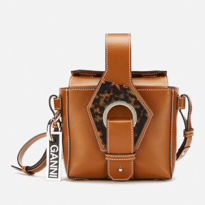 Ganni Women's Leather Cross Body Bag - Cognac